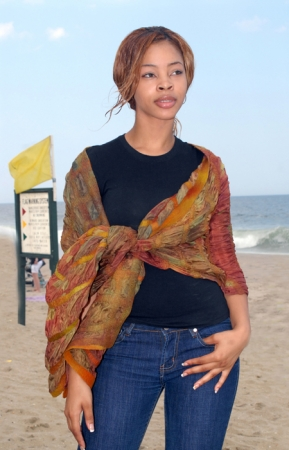 Nuno felted silk and wool wrap, Photo by Linda Hubbell